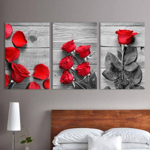 Wall26 3 Panel Canvas Wall Art - Black And White Roses