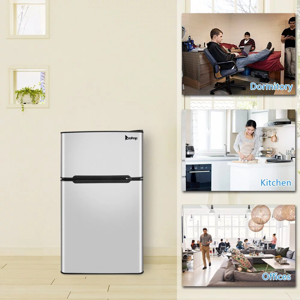 If your mini fridge has a compressor, you should be able to convert your mini fridge to a freezer by simply connecting a new thermostat to it. Zokop Double Door Mini Fridge Freezer For Bedroom Office Or Dorm Bcd 90 Ac115v 60hz 90l 3 2cu Ft Household Refrigerator Walmart Com