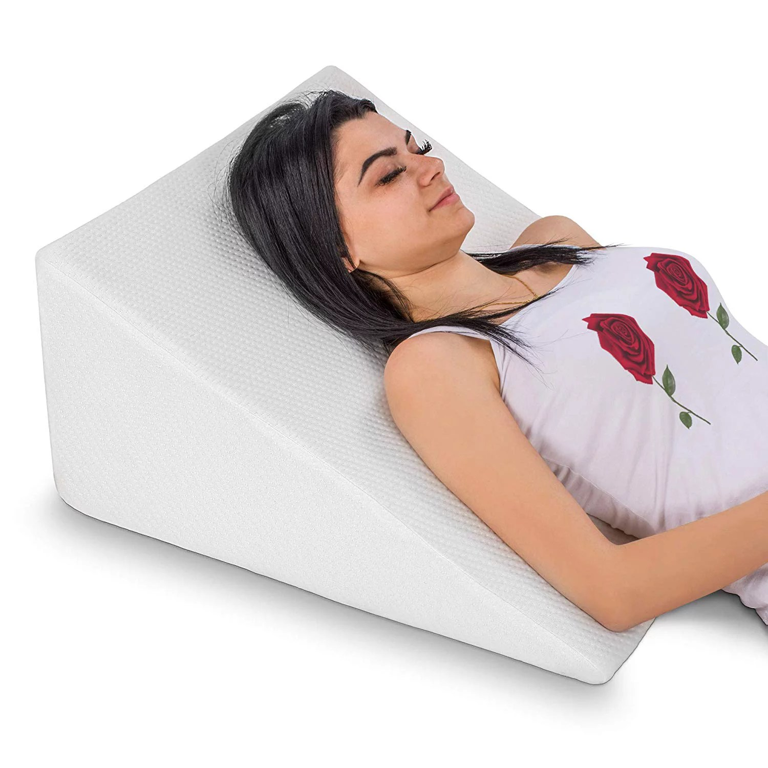 abco tech bed wedge pillow memory foam top reduce back pain snoring 12 height white