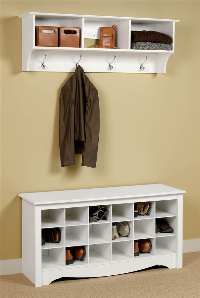 entryway wall mount coat rack w shoe storage bench in white walmart com