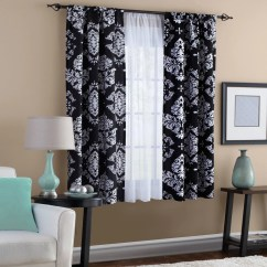 Black And White Curtains For Living Room Nice Paintings Classic Noir Window Curtain Walmart Com