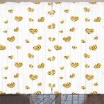 Gold And White Curtains By Little Heart Shapes Romantic Love Party Valentines Day Inspired Image Living Room Bedroom Window Drapes 2 Panel Set 108 W X 108 L Inches Yellow And