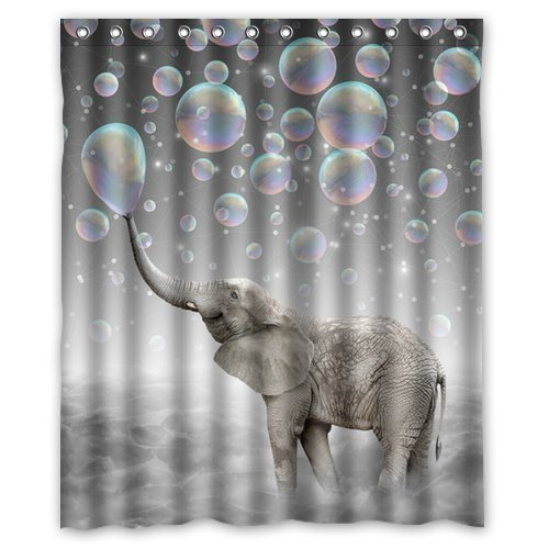 hellodecor animal elephant blowing bubble shower curtain polyester fabric bathroom decorative curtain size 60x72 inches