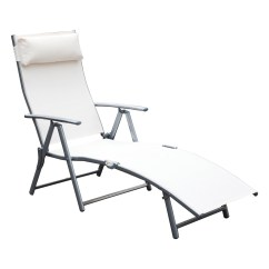 Folding Chaise Lounge Chair Walmart Graco High Cover Uk Outsunny Steel Sling Outdoor Com