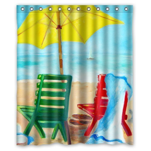 beach chair bathroom accessories canvas covers australia greendecor waterproof shower curtain set with hooks size 60x72 inches walmart com