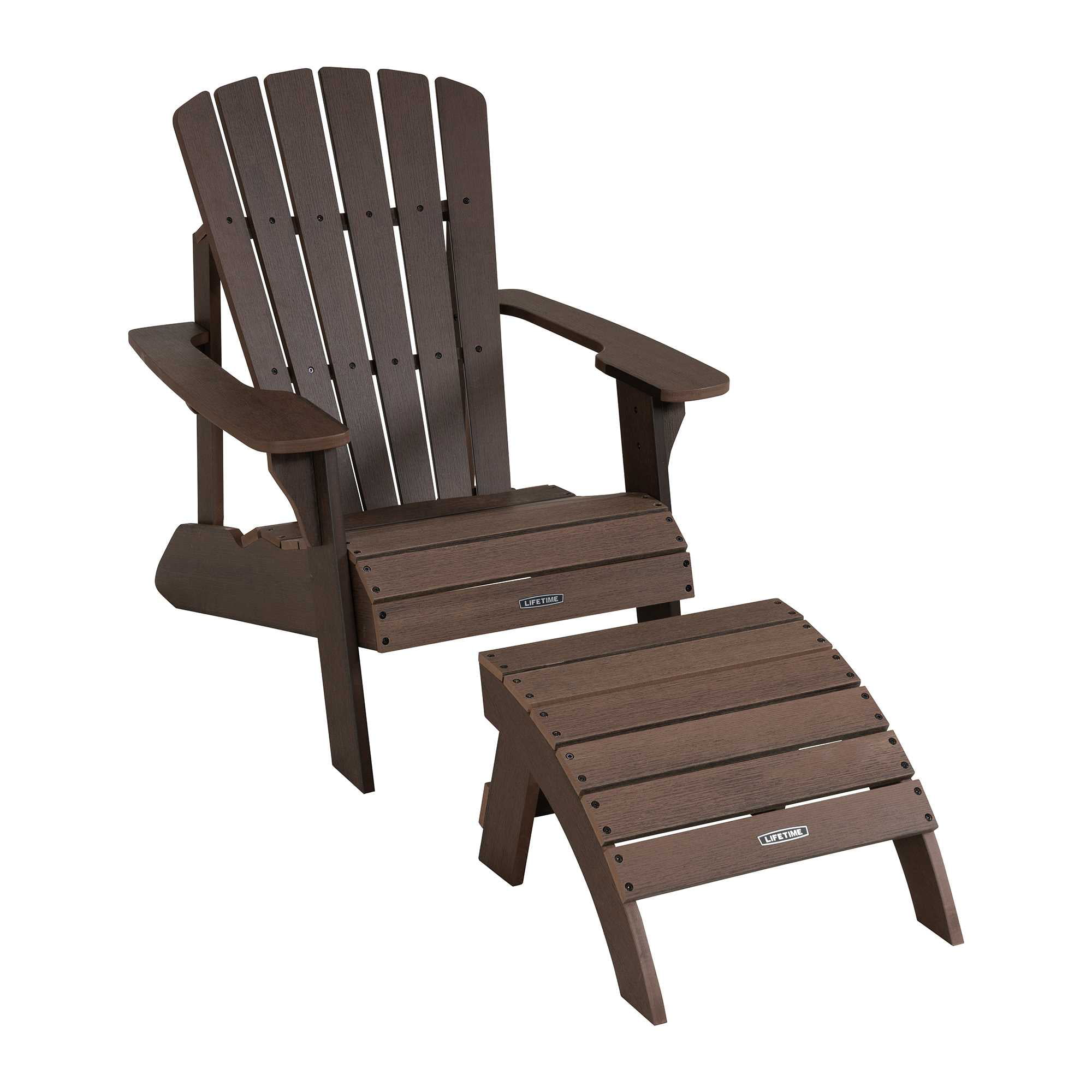 Lifetime Adirondack Chairs Lifetime Adirondack Chair And Ottoman Set Rustic Brown 60294