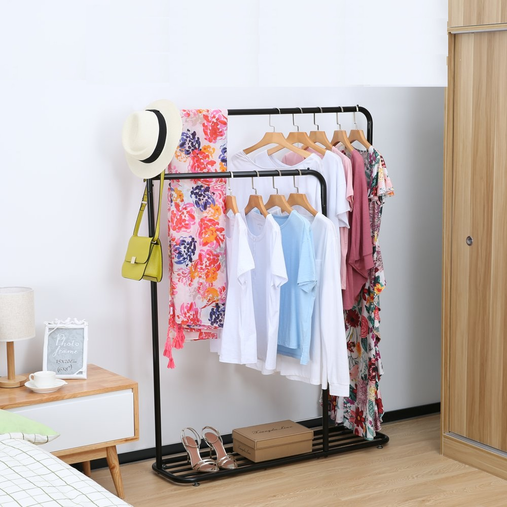 cozzine household freestanding closet double rod heavy duty garment rack metal hanging clothes rack portable closet with bottom shelves for shoes