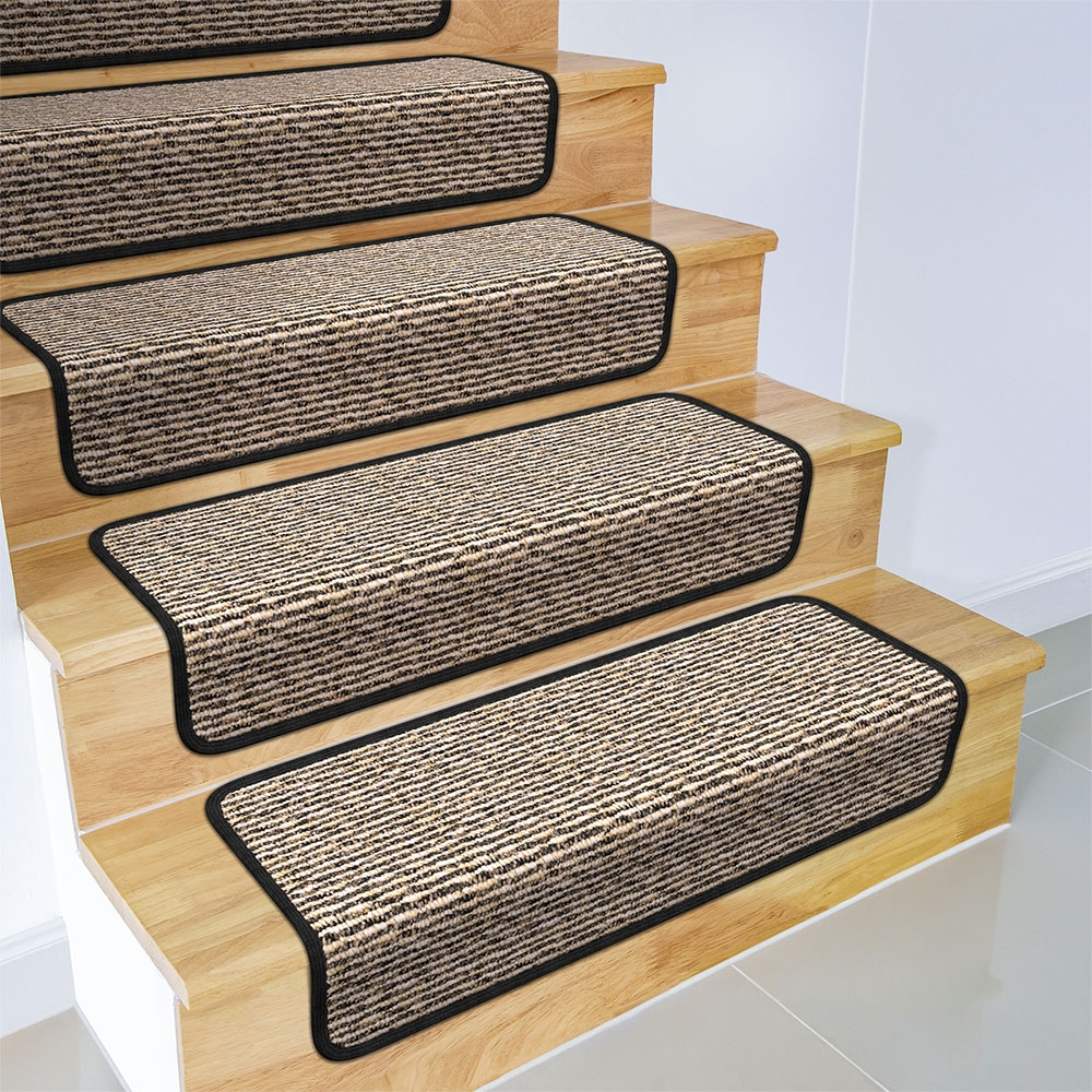 Set Of 15 Overstep Attachable Carpet Stair Treads Black Ripple   Walmart Outdoor Stair Treads   Rubber Stair   Rubber Backed   Walmart Com   Step Mats   Anti Slip