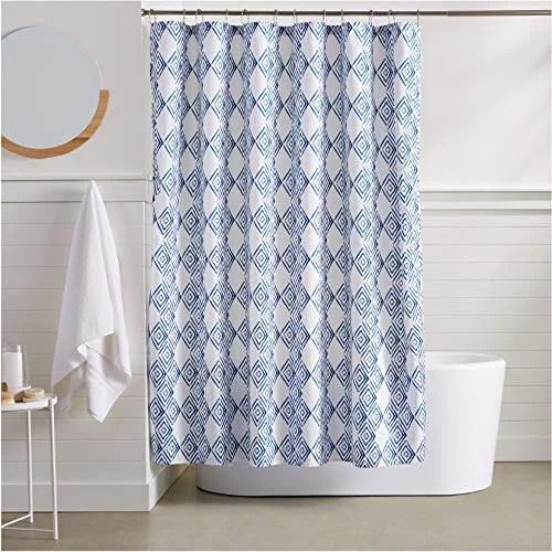basics blue diamond bathroom shower curtain 72 inch