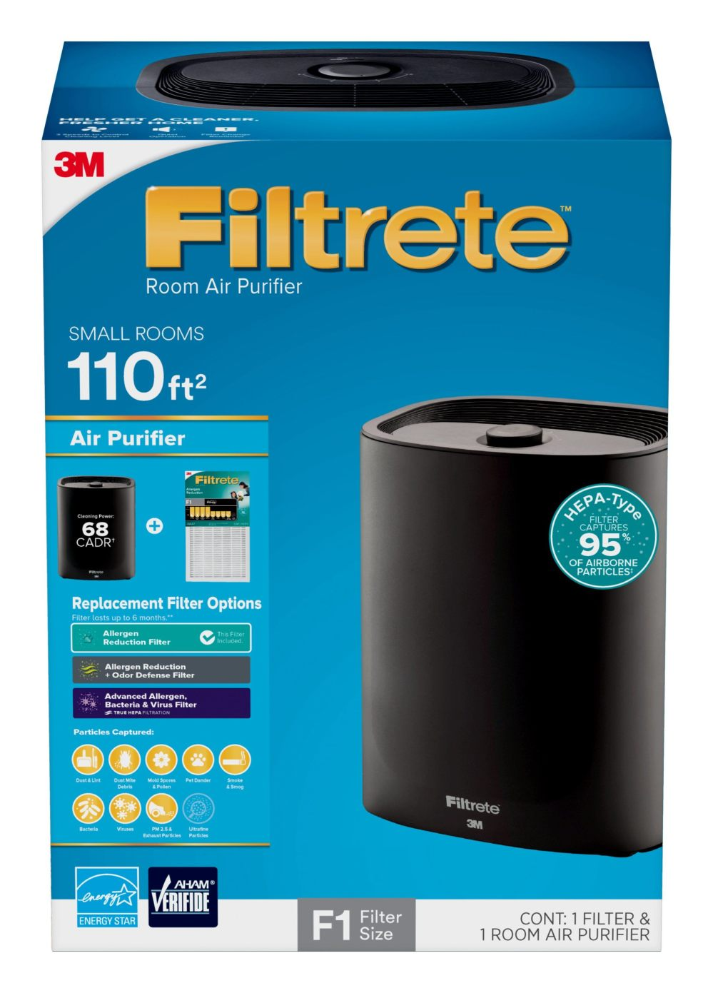 medium resolution of filtrete by 3m room air purifier console 110 sq ft coverage black hepa type allergen filter included
