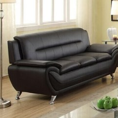 Walmart Living Room Furniture Window Treatment Norton Black Faux Leather Modern 77 Sofa Com