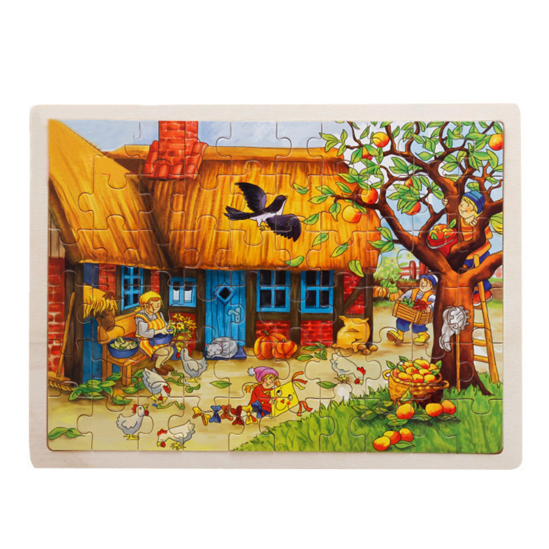 60 Piece Apple Tree House Wooden Jigsaw Puzzle Baby Kids