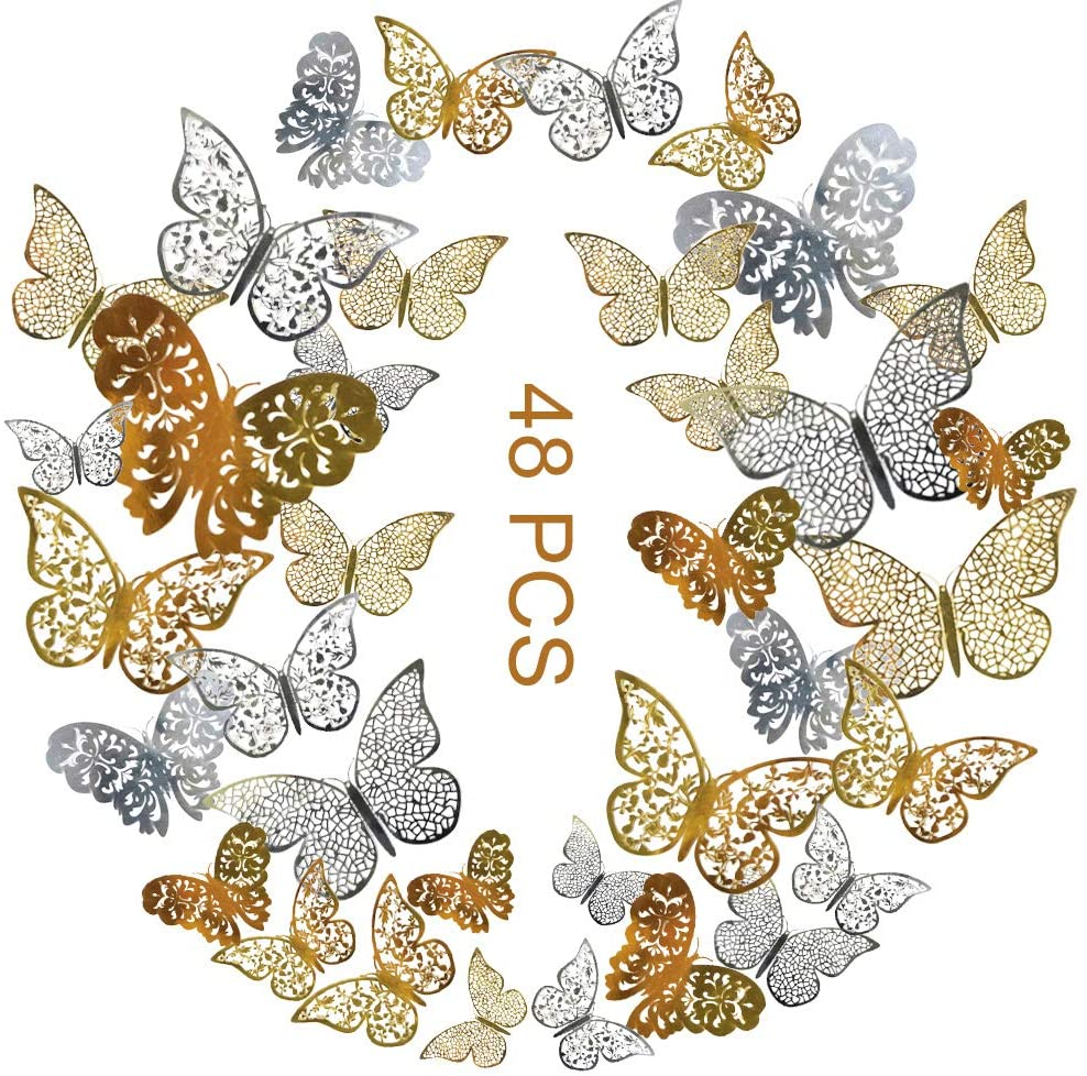 48pcs 3d Butterfly Wall Decals Sticker With Gold Silver Butterfly Decals Metallic Art Decorations Sticker With Set 3 Sizes Diy Man Made Removable Decorative Paper Murals For Home Nursery Party Decor
