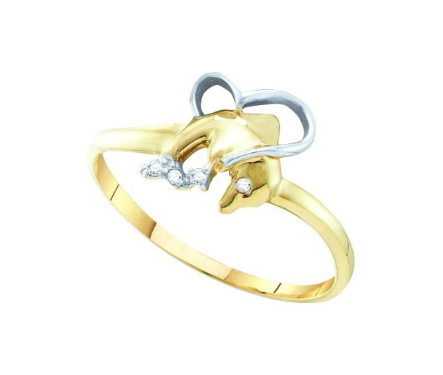 Size 11 10k Yellow Gold Round Diamond Accent Dolphin Heart Ring 02 Cttw Walmart Com