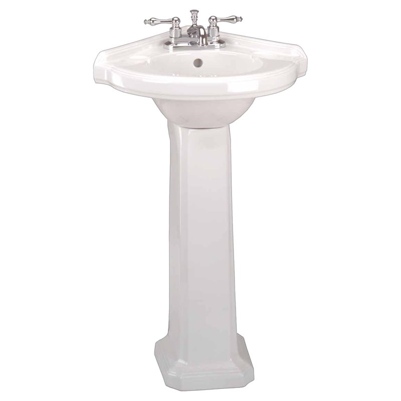 portsmouth 22 in corner pedestal combo bathroom sink in white with overflow