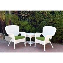 3-piece white wicker outdoor furniture