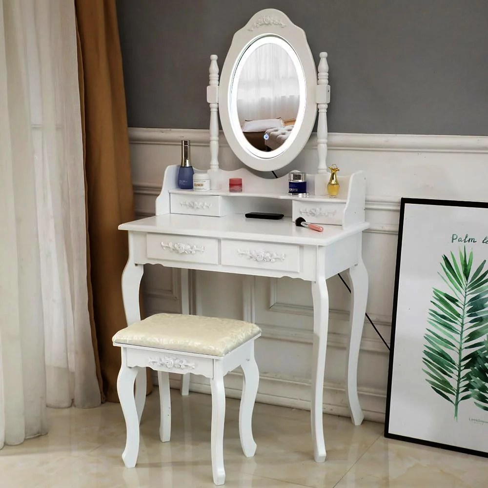 ktaxon elegance white dressing table vanity table and stool set wood makeup desk with 4 drawers lighted led touch screen mirror