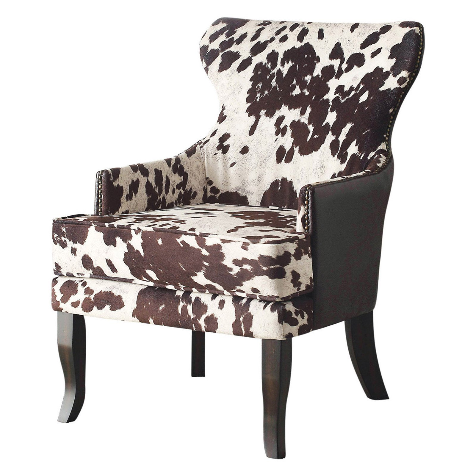 Cow Hide Chair Nspire Faux Cow Hide Accent Chair With Stud Detail