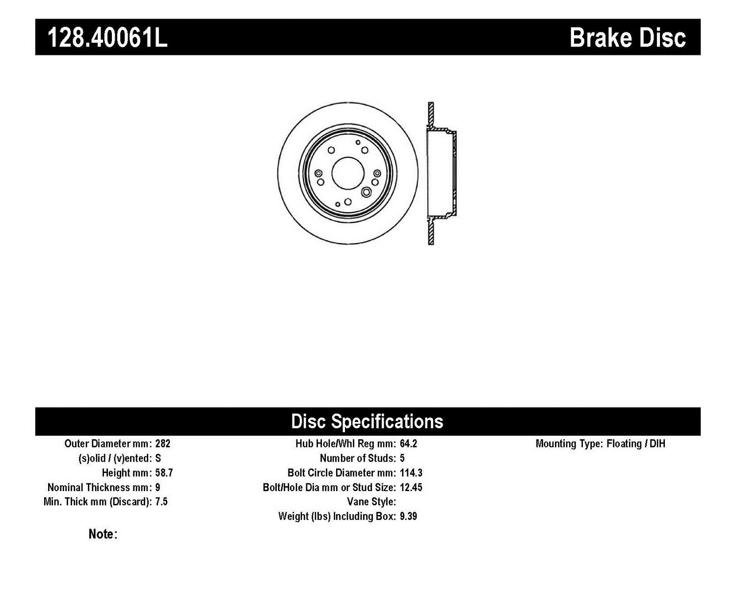 StopTech 04-08 Acura TL/TL-S Standard/Brembo Drilled Left