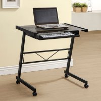 Coaster Black Mobile Computer Desk with Tempered Glass ...