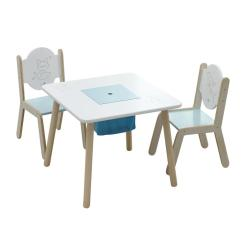 Bedroom Chair Table Set Quality Computer Chairs Labebe Wooden Activity Bird Printed White Toddler With Bin For 1