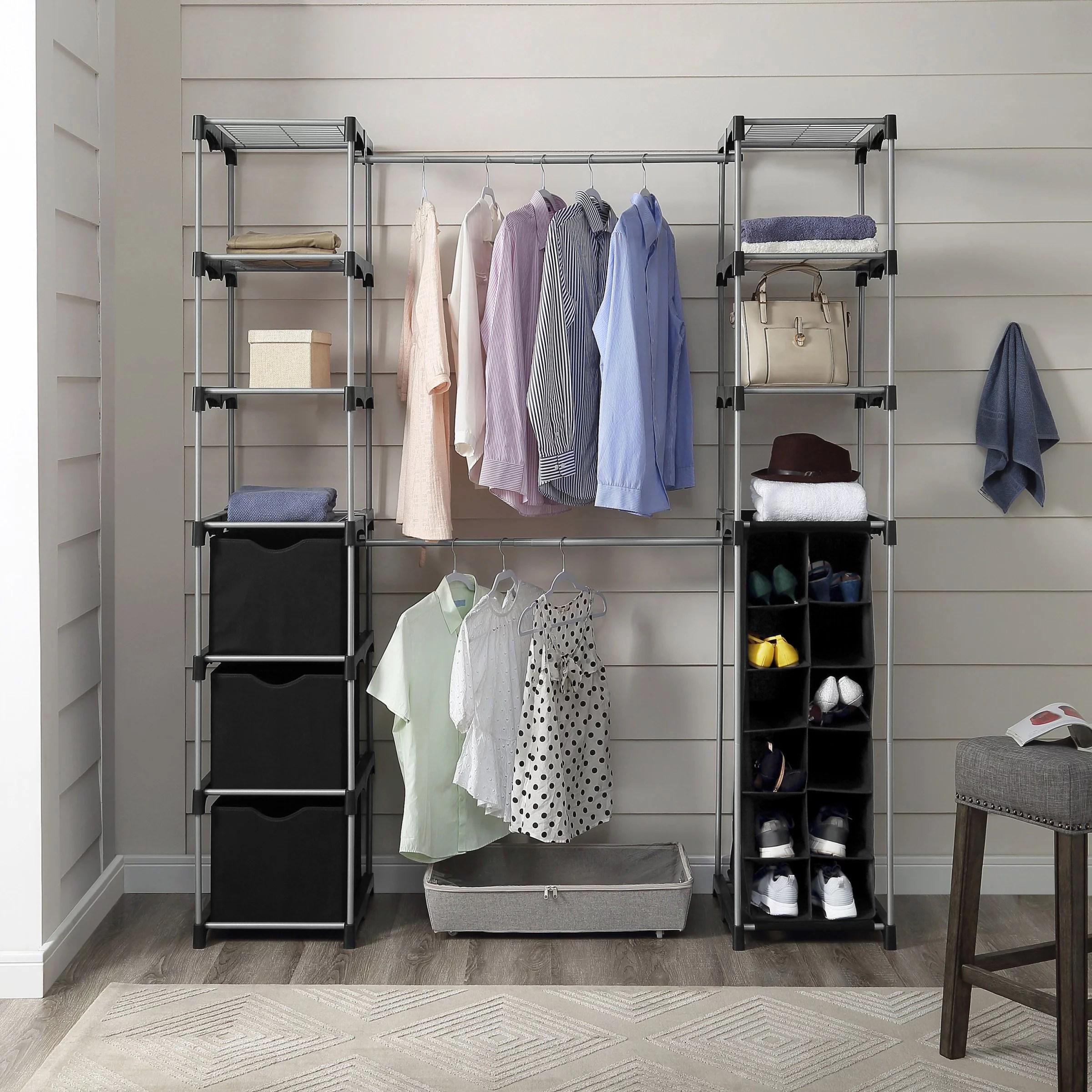 Mainstays Closet Organizer 2 Tower 9 Shelves Easy To Assemble Black Walmart Com