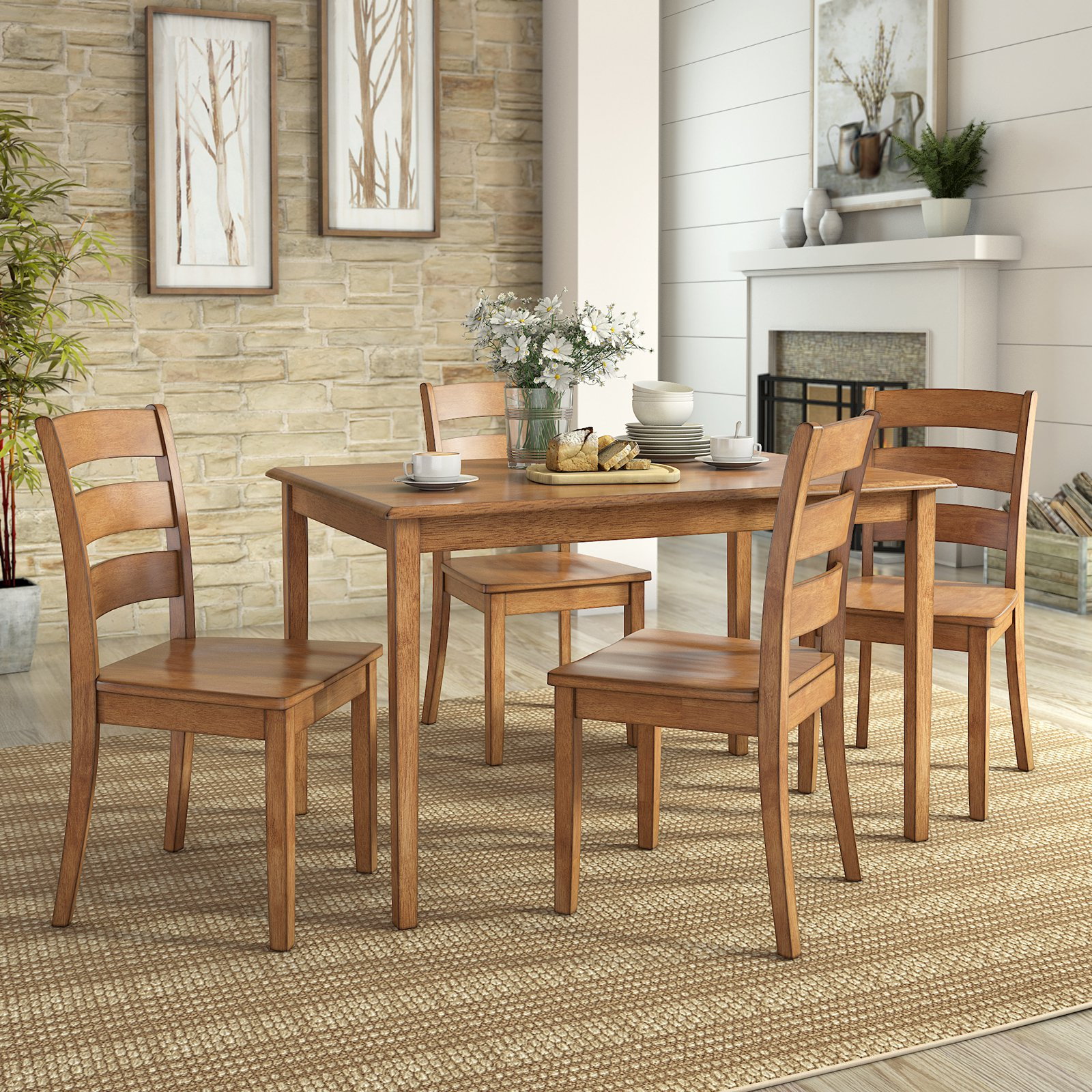 lexington dining chairs plastic cafe johannesburg weston home 5 piece set 4 ladder back walmart com