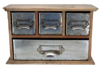 Wood and Metal Industrial Look Four Drawer Set 12 Inch ...