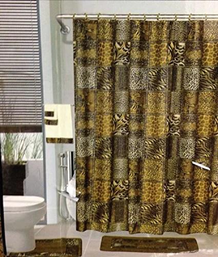 18pcs bath rug set leopard brown bathroom rug shower curtain mat rings towel set
