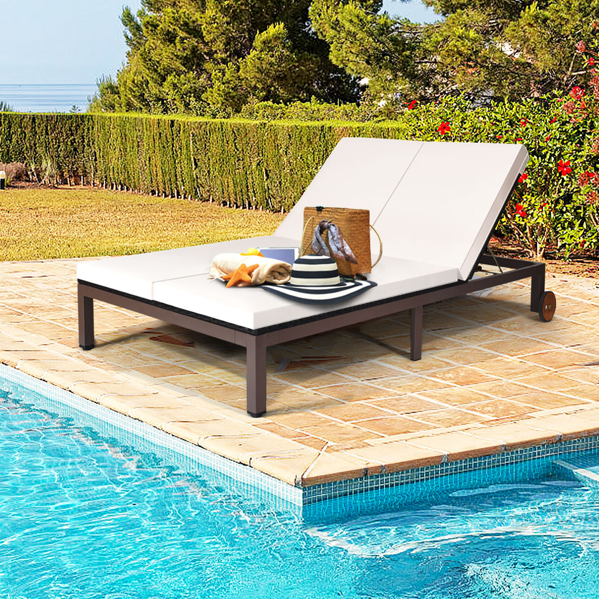gymax adjustable patio rattan 2 person recliner lounge chair w cushion wheel walmart com