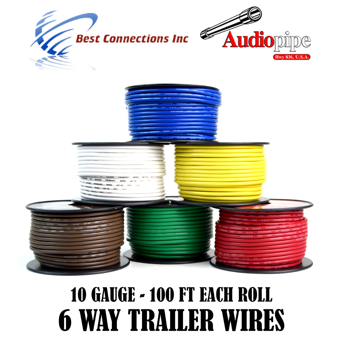 hight resolution of 6 way trailer wire light cable for harness led 100ft each roll 10 gauge 6 rolls walmart com
