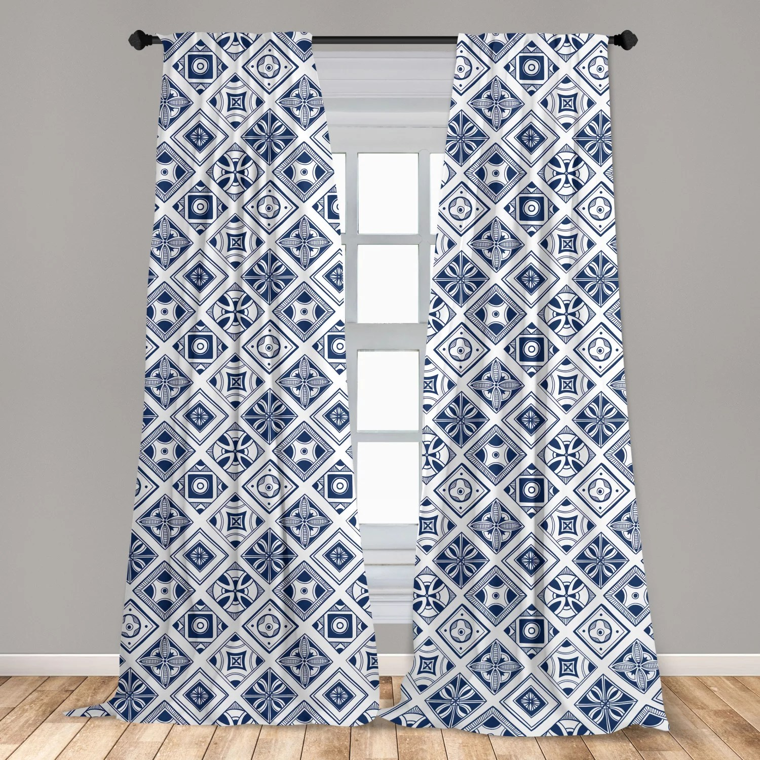 navy blue curtains 2 panels set mediterranean traditional art elements with spanish portuguese influences window drapes for living room bedroom