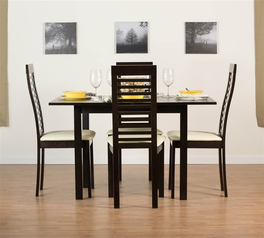 Flex Chairs Flex Extendable Flip Table Set With Denver Chairs In Coffee