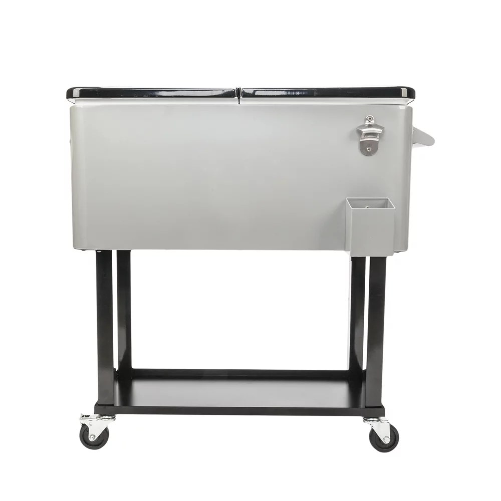 ubesgoo 80 quart patio cooler rolling cooler ice chest with shelf wheels and bottle opener iron ice chest portable patio party drink cooling cart
