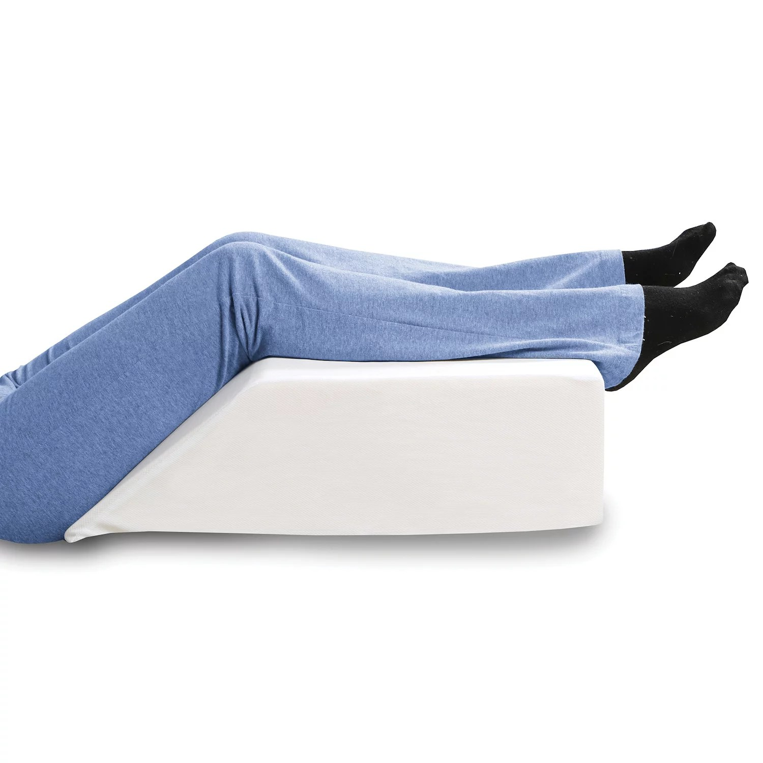 elevated leg wedge support pillow relieves back sciatica pain surgical or injury recovery improves circulation helps reduce leg ankle swelling