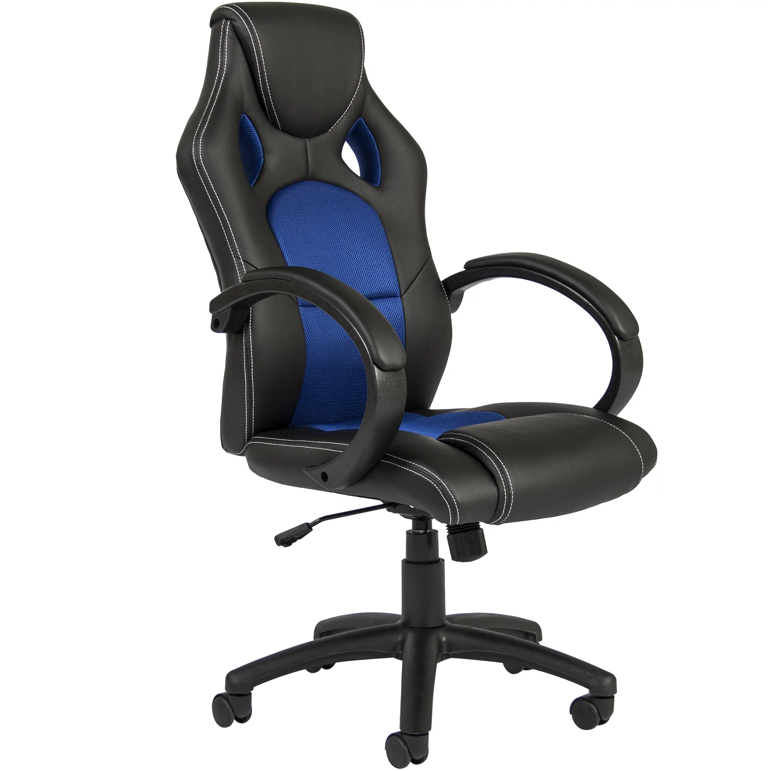 desk chair blue wedding cover hire wales best choice products executive padded pu leather racing style design swivel office for gaming work w high back seat armrests tilt height adjustment