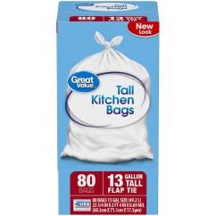Kitchen Bags Wooden Tools Great Value Tall Flap Tie Trash 13 Gallon 80 Count Walmart Com