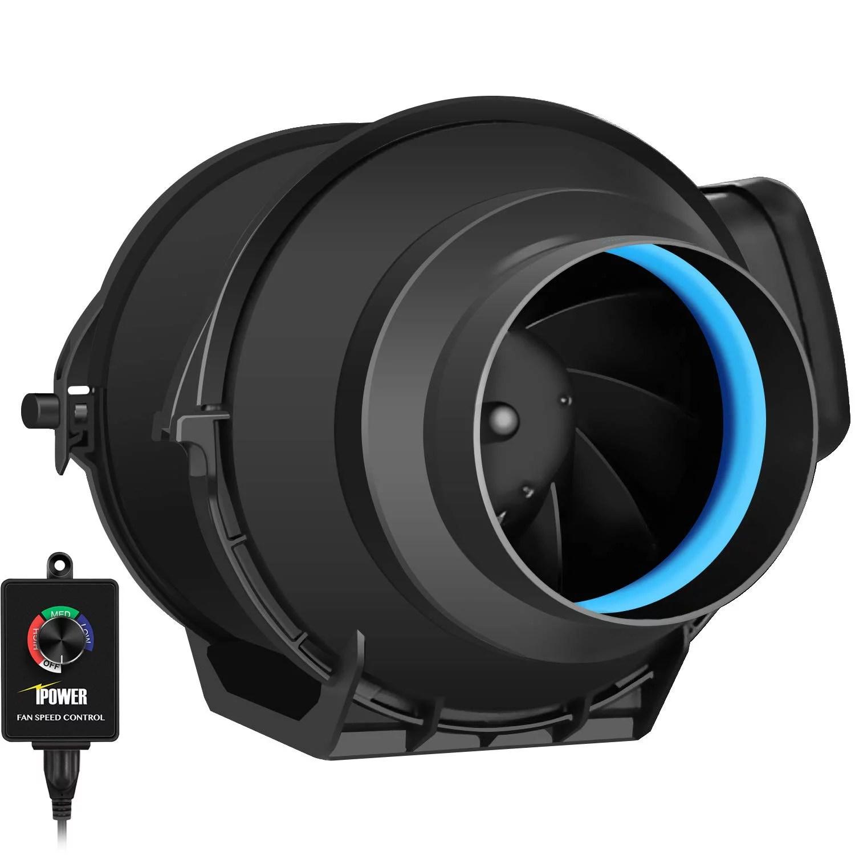 ipower 4 inch 150 cfm inline duct fan with variable speed controller ventilation quiet hvac exhaust blower black walmart com
