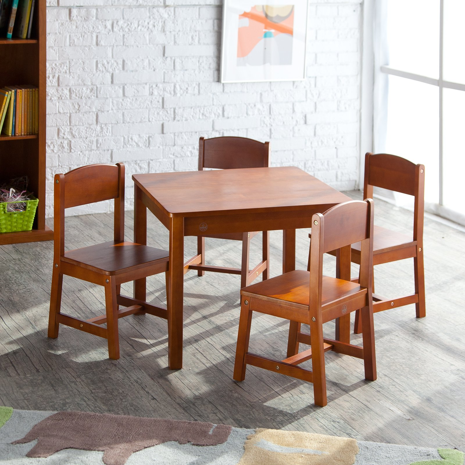kidkraft farmhouse table and chair set espresso blue covers for sale wood 4 chairs multiple colors walmart com