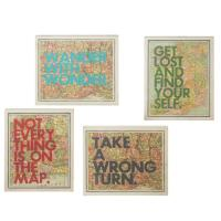 Set of 4 Inspirational Quote Colorful Framed Atlas Map ...