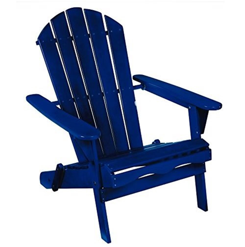 Living Accents Folding Wood Adirondack Chair  Blue