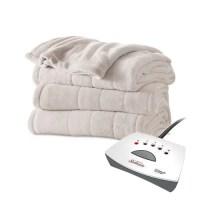 Sunbeam Channeled Velvet Plush Electric Heated Blanket ...