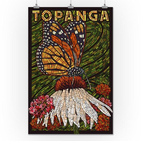 Topanga California - Monarch Butterfly Paper Mosaic Green Background Lantern Press