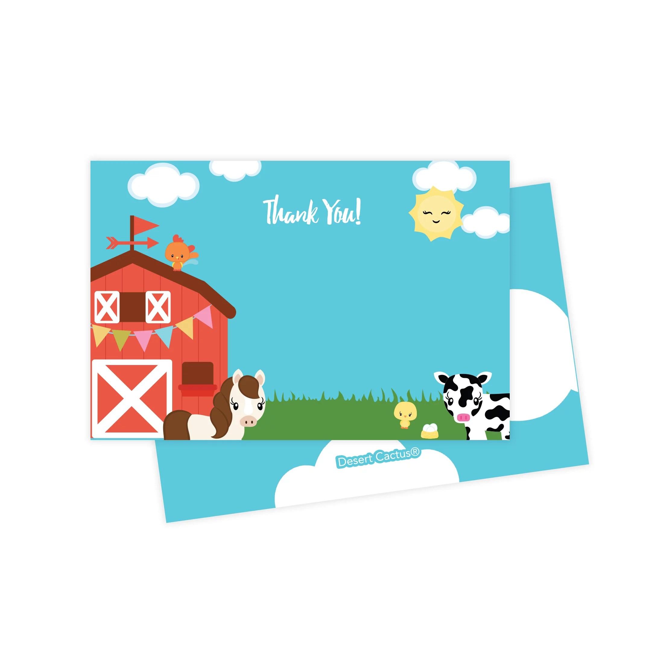 farm barnyard thank you cards 25 count with envelopes seal stickers bulk birthday party bridal blank graduation kids children boy girl