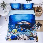 3d Bedding Set 3 Piece Queen Size Turtle In Sea Print Duvet Cover With Two Matching Pillow Covers Super Soft Duvet Cover General For Men And Women Especially For Children P30 Queen