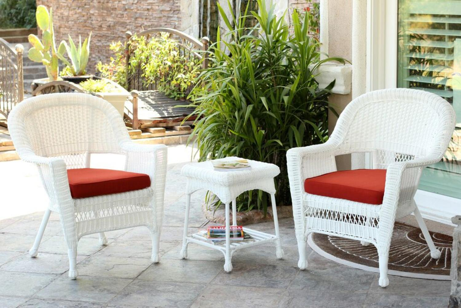 white wicker chairs and table big tall executive chair 3 piece resin patio end