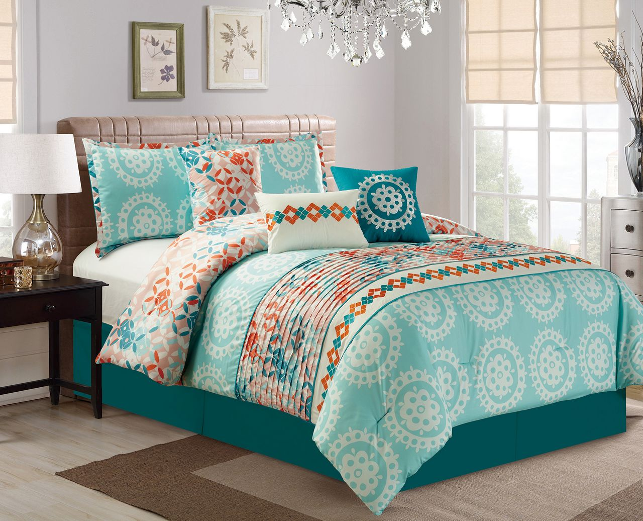7 Piece Medallion Teal/Coral Comforter Set