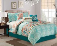 7 Piece Medallion Teal/Coral Comforter Set