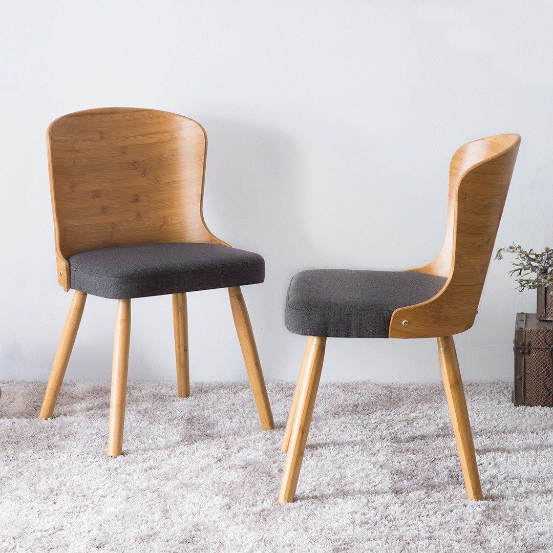 bamboo dining chair seated massage corvus calvados mid century modern chairs set of 2 walmart com