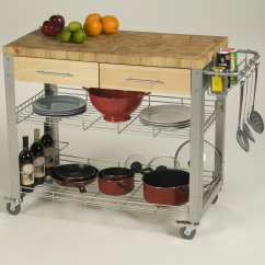 Kitchen Work Station Butcher Block Cart Chris Amp Stadium Walmart Com